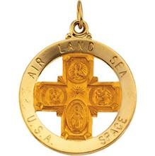 Air Land Sea USA Space Yellow Gold 4-way Saint Christopher Medal md:1091:y