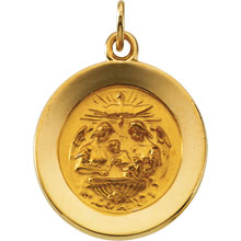 Round Baptismal Medal Solid 14 Karat Yellow Gold  md:1079:y