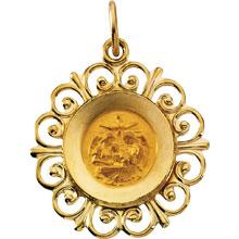 Round Fluer-De-Lis Baptismal Medal Solid 14 Karat Yellow Gold   md:1080:y