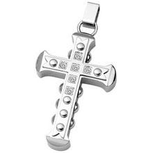 Stainless Steel CZ Cross Pendant cr:1063:st