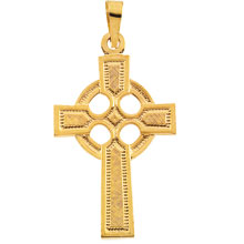 Celtic Cross Solid 14 Karat Yellow Gold cr:1028:y