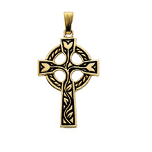 Rose Bud Celtic Cross Solid Yellow Gold Filled cr:1027:y