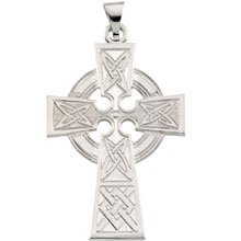 Celtic Cross Pendant Solid 14 Karat White Gold cr:1030:w