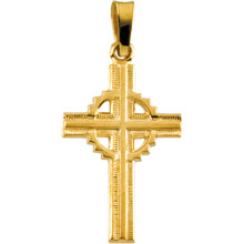 Fancy Celtic Cross Pendant Solid 14 Karat Yellow Gold