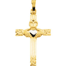 Two Tone Gold Claddagh Cross Pendant cr:1001:tt