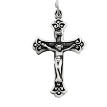 Budded INRI Crucifix Solid Sterling Silver R4052:104191:P
