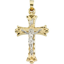 Budded INRI Hollow Crucifix 14 Karat Gold cr:1039:tt