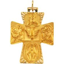 Catholic 14kt Yellow Gold Four Way Cross
