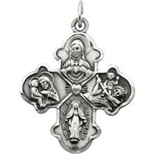 Four Way Catholic Medal With Chain Sterling Silver