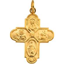 14kt Gold 4-Way Cross