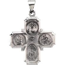 Hollow Four Way Medal Cross 14kt White Gold
