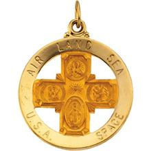 USA Four Way Cross Medal Yellow 14kt Gold