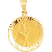 Pope Benedict 14kt Yellow Hollow Medal