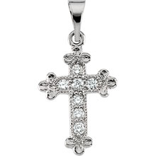 Diamond Bottony Cross Solid 14 Karat White Gold cr:1008:w