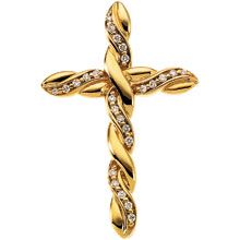Diamond Vine Cross Solid 14 Karat Yellow Gold cr:1004:y