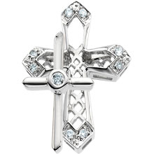 Round Diamond Unity Cross Solid 14 Karat White Gold  cr:1006:w
