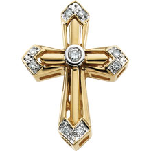 Round Diamond Unity Cross Solid 14 Karat Yellow Gold cr:1006:y