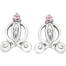 Disney Cinderella Pink Sapphire Diamond Carriage Earrings