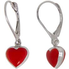 Disney Heart Earrings In Sterling Silver And Red Enamel Puff
