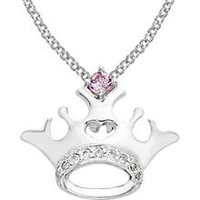 Disney Pink Sapphire Sterling Silver Crown Necklace