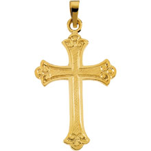 Flory Cross Solid 14 Karat Yellow Gold cr:1015:y