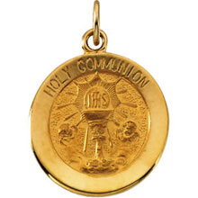 Round Holy Communion Pendant Medal in Solid 14 Karat Yellow Gold md:1083:y
