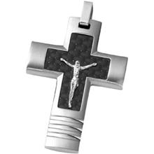 Cross Pendant with Crucifix Center and Black Carbon Fiber Design