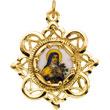 Elegant Saint Theresa Crown Enamel Pendant in Solid 10 Karat Yellow Gold md:1068:y
