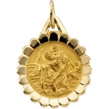 St Christopher Round Solid 14 Karat Yellow Protect Us Flower Medal md:1011:y