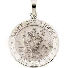 St Christopher Round Solid White Gold Protect Us Medal md:1003:w