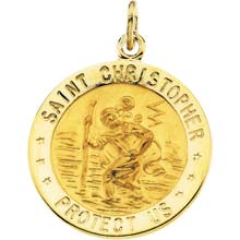 St Christopher Round Solid Yellow Gold Protect Us Medal md:1003:y