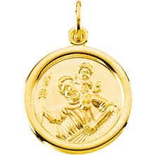 St Christopher Round Solid Yellow Gold Smooth Medal md:1005:y