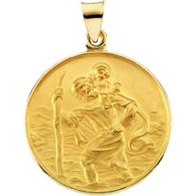 St Christopher Round Solid Yellow Gold Simple Medal md:1004:y