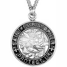 St Christopher Round Black Border Solid Sterling Silver Protect Us Medal md:1009:s