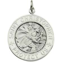 St Christopher Round White Enamel Solid Sterling Silver Protect Us Medal md:1010:s