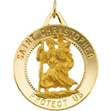 St Christopher Round Cut Out Yellow Gold Protect Us Medal md:1007:y