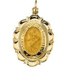 St Christopher Ribbon Solid Yellow Gold Protect Us Medal md:1023:y