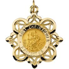 St Christopher Crown Solid Yellow Gold Protect Us Medal md:1022:y