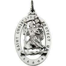 St Christopher Oval Solid Sterling Silver Protect Us Cut Out Medal md:1012:s