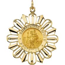 St Christopher Sunburst Solid Yellow Gold Protect Us Medal md:1020:y