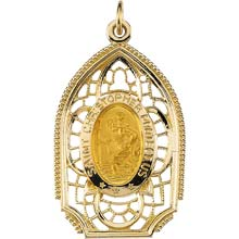 St Christopher Filigree Boat Solid Yellow Gold Protect Us Medal md:1021:y