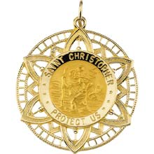 St Christopher Star Solid Yellow Gold Protect Us Medal md:1018:y