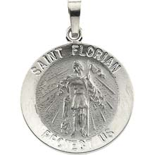 St Florian Round Solid 14 Karat White Gold Protect Us Medal md:1057:w