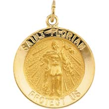St Florian Round Solid 14 Karat Yellow Gold Protect Us Medal md:1057:y