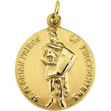 St Florian Simple Round Solid 14 Karat Yellow Gold Patron of Firefighters Medal md:1063:y