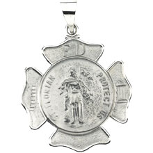 St Florian Round Fire Fighters Hollow 14 Karat White Gold Protect Us Medal md:1061:w