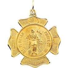 St Florian Round Fire Fighters Solid 14 Karat Yellow Protect Us Medal md:1060:y
