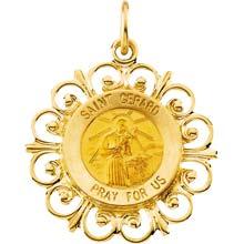 St Gerard Fleur-de-lis Solid 14 Karat Yellow Gold Pray for Us Medal md:1056:y