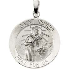 St Gerard Round Solid 14 Karat White Gold Pray for Us Medal md:1054:w