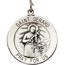 St Gerard Round Solid Sterling Silver Pray for Us Medal md:1054:s